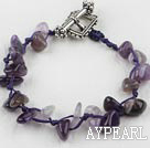 7.5 inches amethyst chips bracelet with toggle clasp