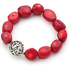 elastic 7.9 inches red coral bangle bracelet