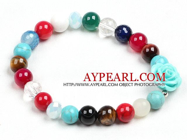 Simple Style Single Strand Multi Gemstone Beads Stretch/ Elastic Bracelet