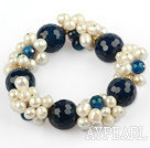 Wholesale White Freshwater Pearl and Faceted Blue Agate Stretch Bangle Bracelet