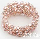 Wholesale Natural Purple Freshwater Pearl Wrap Bangle Bracelet