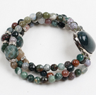 Wholesale Fashion Three Strand Faceted Indian Agate Beads Bracelet