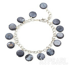 Wholesale 11mm black round shell bracelet with extendable chain