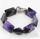 Wholesale 7.5 inches chunky style purple rutilated agate bracelet 