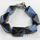 Wholesale 7.5 inches chunky style black and blue rutilated agate bracelet