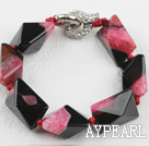 Wholesale 7.5 inches chunky style pink red rutilated agate bracelet