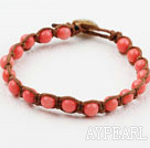 Shamballa Style 6mm Round Pink Coral Weaved Bracelet with Shell Clasp