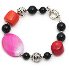 Wholesale red coral and black agate bracelet with toggle clasp