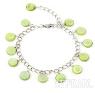 Wholesale 11mm green round shell bracelet with extendable chain