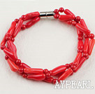 3 strand red coral bracelet with magnetic clasp