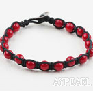 Fashion Style 6mm Round Red Coral Woven Bracelet with Shell Clasp