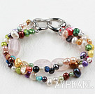 Wholesale New Design Multi Color Freshwater Pearl and Rose Quartz Bracelet with Heart Shape Clasp