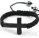 Sideway/Side Way Two Row Cross with Purple Red Rhinestone Woven Adjustable Drawstring Bracelet with Hematite Beads