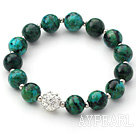 Green Series 10mm Phoenix and Metal Beads and Rhinestone Beaded Stretch Bracelet