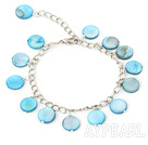 Wholesale 11mm blue round shell bracelet with extendable chain