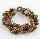 Multi Strand Green Piebald Stone and Pearl Crystal Bracelet
