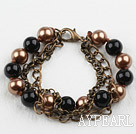 Wholesale Vintage Style Black and Brown Round Seashell Beads Bracelet