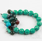 Wholesale New Design Assorted Turquoise and Indian Agate Elastic Bracelet