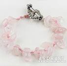 Wholesale 7.5 inches handmade rose quartze bracelet