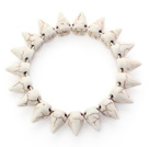 Simple Style White Howlite Punk Bullet Stretch Bangle Bracelet