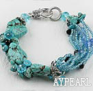 Wholesale 7.5 inches crystal glass beads and turquoise bracelet