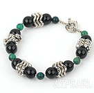 Wholesale 7 inches phoenix stone and black agate bracelet with moonlight clasp