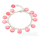Wholesale 11mm pink round shell bracelet with extendable chain
