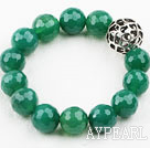 7.5 inches stretchy 14mm faceted green agate beaded bracelet