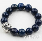 7.5 inches stretchy faceted blue agate beaded bracelet