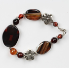 fancy agate bracelet with flower charms