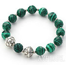 Green Series 10mm Faceted Malachite Stone and Lotus Beads and Rhinestone Beaded Stretch Bracelet