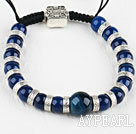Wholesale blue agate beaded bracelet with adjustable chain