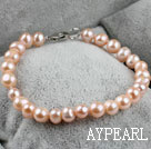 7.5 inches 7-8mm fresh water pink pearl beaded bracelet with lobster clasp