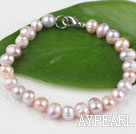 Wholesale 7.5 inches 7-8mm fresh water purple pearl beaded bracelet with lobster clasp