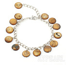 Wholesale 11mm brown round shell bracelet with extendable chain