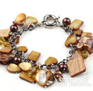 Brown Series Brown Pearl Crystal og Brown Shell armbånd med Metal Chain