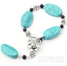 black pearl and turquoise bracelet with extendable chian