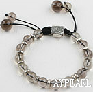 Wholesale 8-10mm natural smoky quartze bracelet with extendable chain