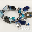 Wholesale chunky style gorgeous 7.5 inches blue agate bracelet