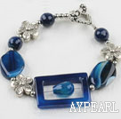 Wholesale 7.5 inches blue agate bracelet with toggle clasp