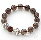 Brown Series 10mm Natural Smoky Quartz and Lotus Beads and Rhinestone Beaded Stretch Bracelet