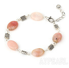 Wholesale 7.5 inches oval pink opal bracelet with lobster clasp