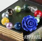 elastic 10-14mm multi color stone bracelet with flower charm