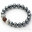 Black Gray Series 10mm Tungsten Steel Stone and Lotus Beads and Rhinestone Beaded Stretch Bracelet
