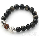 Black Series 10mm Golden Obsidian Stone and Lotus Beads and Rhinestone Beaded Stretch Bracelet