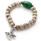 Vintage Style Single Strand Leaves the Bodhi Beads Green Jade Elastic Bracelet with Cross Amulet Charm