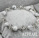 Wholesale 8m white turquoise ball beaded bracelet with extendable chain