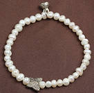 Wholesale brown pearl crystal and agate bracelet with extendable chain