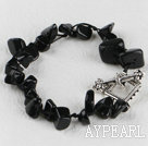 black agate bracelet with toggle clasp