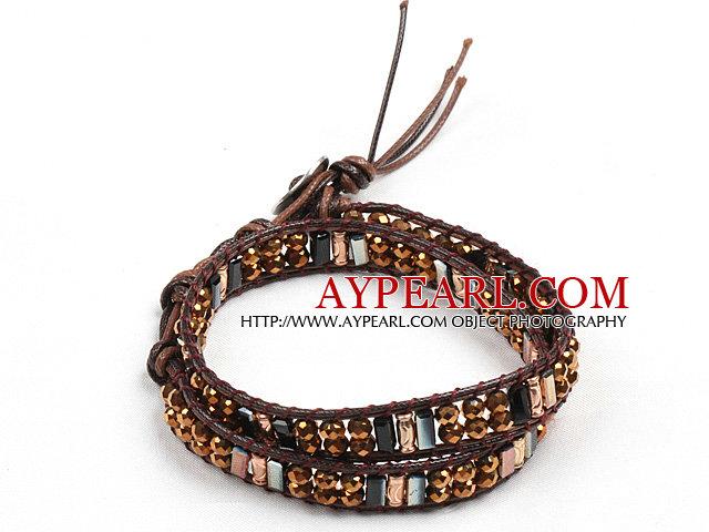 Fashion Style Brown Searies Crystal Beads Wrap Bangle Bracelet